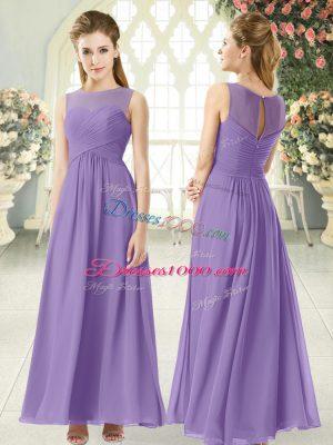 Wonderful Chiffon Scoop Sleeveless Zipper Ruching Prom Dresses in Lavender