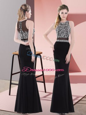 Graceful Black Chiffon Zipper Teens Party Dress Sleeveless Floor Length Beading