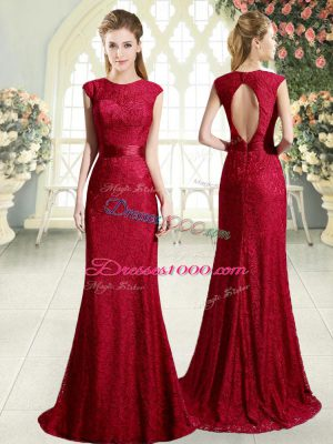 Red Backless Prom Dresses Lace Sleeveless Sweep Train