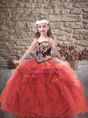Ball Gowns Pageant Dresses Red Straps Tulle Sleeveless Floor Length Lace Up