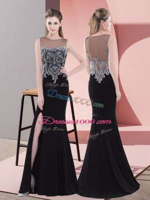 Satin Scoop Sleeveless Side Zipper Beading Prom Dresses in Black