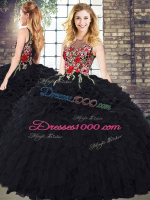 Elegant Sleeveless Floor Length Embroidery and Ruffles Zipper Quinceanera Dress with Black