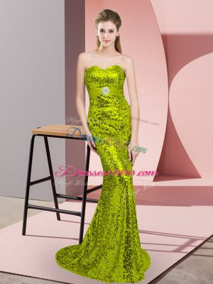Beautiful Sweetheart Sleeveless Sweep Train Lace Up Prom Evening Gown Apple Green Sequined