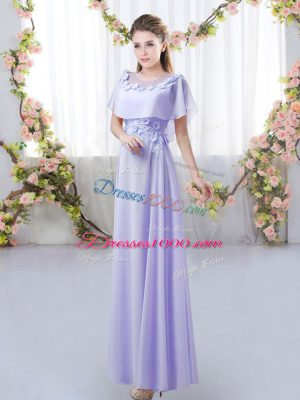 Lavender Scoop Neckline Appliques Vestidos de Damas Short Sleeves Zipper