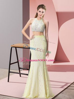 Halter Top Sleeveless Lace Prom Dresses Beading Backless