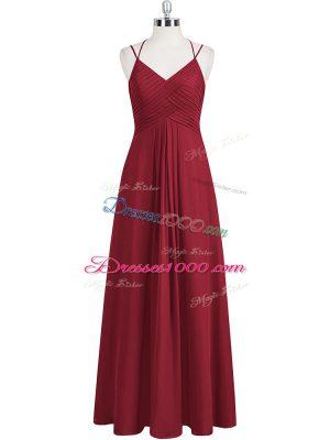 Custom Fit Wine Red Empire Chiffon Straps Sleeveless Ruching Floor Length Zipper Prom Dress