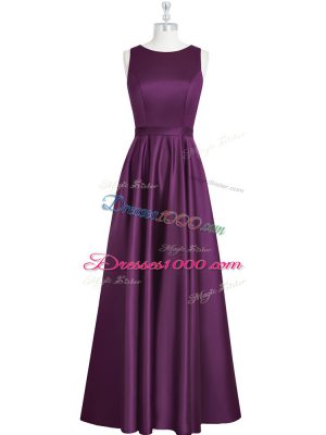 Cheap Eggplant Purple Empire Elastic Woven Satin Scoop Sleeveless Ruching and Pleated Floor Length Backless Prom Party Dress