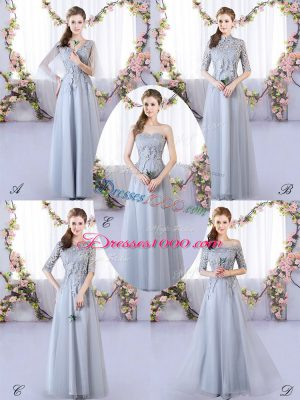 Grey Sleeveless Appliques Floor Length Court Dresses for Sweet 16