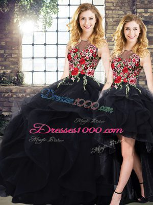 Deluxe Black Sleeveless Beading and Embroidery Floor Length Vestidos de Quinceanera