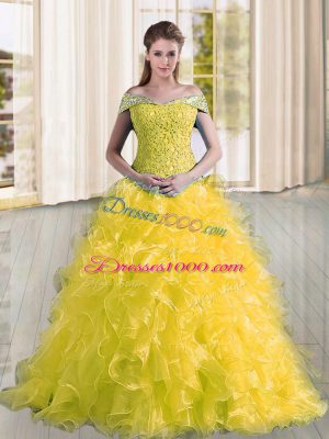 Modern Yellow Lace Up Off The Shoulder Beading and Lace and Ruffles Quinceanera Dress Organza Sleeveless Sweep Train