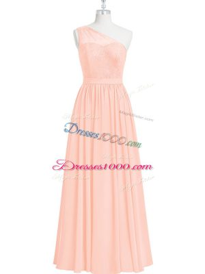 High Class One Shoulder Sleeveless Chiffon Prom Gown Lace