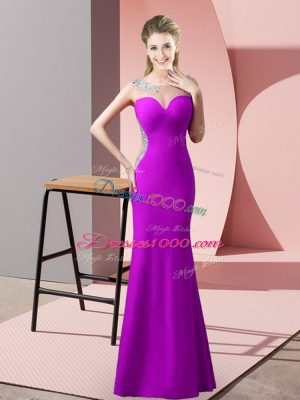 Amazing Floor Length Mermaid Sleeveless Purple Prom Dress Sweep Train Zipper
