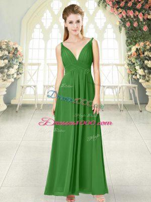 Green Backless V-neck Ruching Evening Dress Chiffon Sleeveless