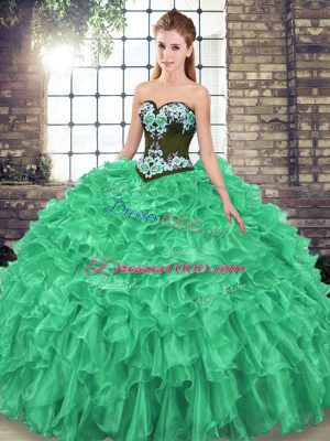 Fantastic Green Lace Up 15th Birthday Dress Embroidery and Ruffles Sleeveless Sweep Train