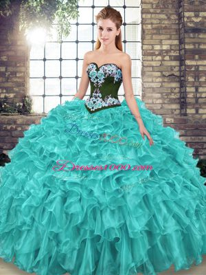 Luxury Sweetheart Sleeveless Sweet 16 Quinceanera Dress Sweep Train Embroidery and Ruffles Turquoise Organza