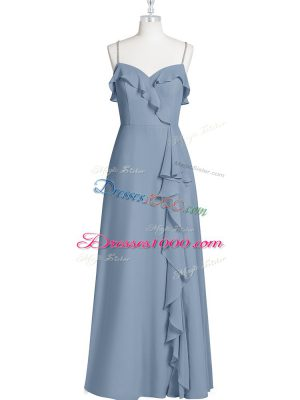 Amazing Spaghetti Straps Sleeveless Zipper Prom Dresses Blue Chiffon