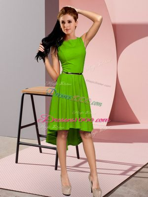 Green Empire Scoop Sleeveless High Low Zipper Belt Teens Party Dress