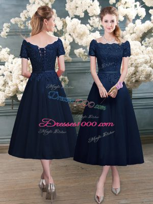 Navy Blue Short Sleeves Tea Length Lace Zipper Prom Party Dress