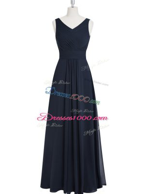 Floor Length A-line Sleeveless Black Prom Evening Gown Zipper