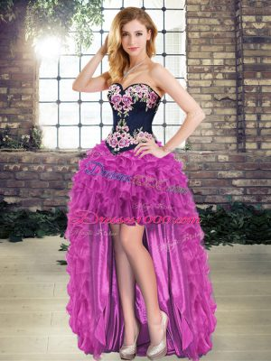 Glamorous Purple Lace Up Womens Evening Dresses Embroidery Sleeveless High Low