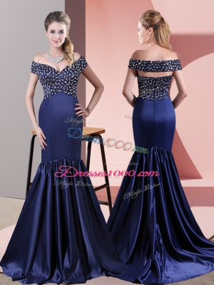 Sophisticated Blue Off The Shoulder Zipper Beading Prom Dresses Sweep Train Sleeveless