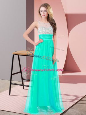 Graceful Scoop Sleeveless Side Zipper Prom Party Dress Turquoise Chiffon