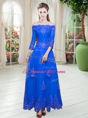 Floor Length Royal Blue Prom Gown Tulle 3 4 Length Sleeve Lace