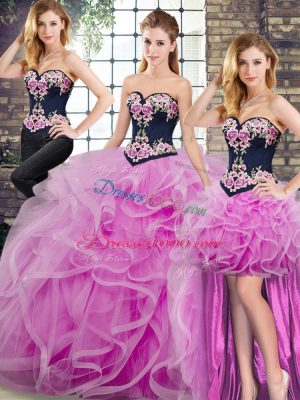 Sleeveless Sweep Train Lace Up Embroidery and Ruffles Quinceanera Dresses