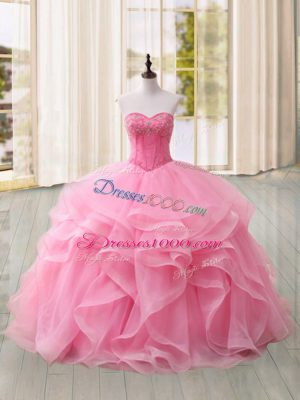 Beauteous Pink Sweet 16 Quinceanera Dress Military Ball and Sweet 16 and Quinceanera with Beading and Ruffles Sweetheart Sleeveless Sweep Train Lace Up