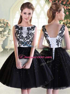 Mini Length Lace Up Homecoming Dress Black for Prom and Party with Beading and Lace