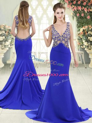 Blue Sleeveless Sweep Train Beading