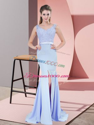 Baby Blue V-neck Zipper Beading and Lace Prom Evening Gown Brush Train Sleeveless