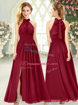 Custom Designed Wine Red Chiffon Zipper Evening Wear Sleeveless Ankle Length Ruching