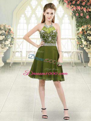 Halter Top Sleeveless Chiffon Evening Dress Beading Zipper