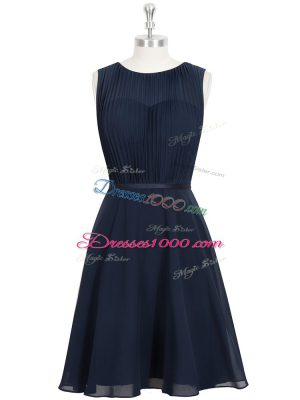 Superior Black A-line Ruching and Belt Homecoming Dress Zipper Chiffon Sleeveless Knee Length