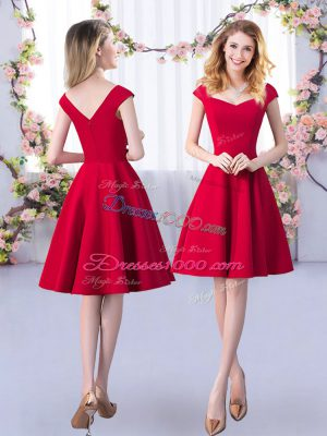 Enchanting Red A-line Satin Straps Cap Sleeves Ruching Knee Length Zipper Quinceanera Court of Honor Dress