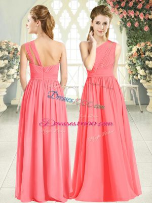 Suitable Watermelon Red Prom Gown Prom and Party with Ruching One Shoulder Sleeveless Zipper
