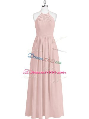 Baby Pink Sleeveless Chiffon Zipper Prom Evening Gown for Prom and Party