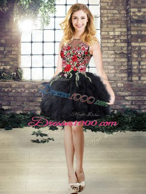 Black A-line Organza Scoop Sleeveless Embroidery and Ruffles Mini Length Lace Up Evening Gowns