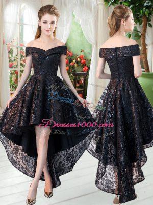 High Low Black Prom Dress Sleeveless Lace