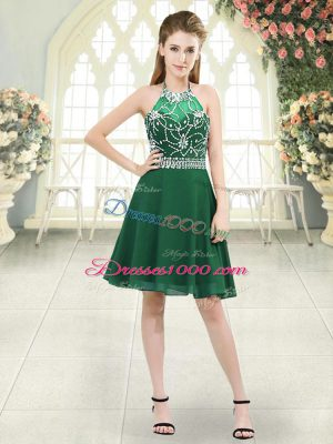 Hot Selling Knee Length A-line Sleeveless Dark Green Prom Party Dress Zipper