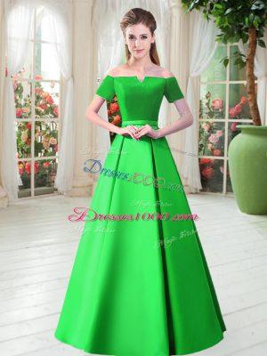 Green A-line Off The Shoulder Short Sleeves Satin Floor Length Lace Up Belt Evening Dress