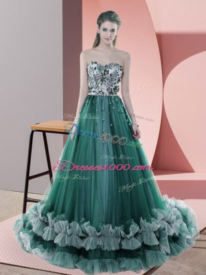 Dark Green Sleeveless Tulle Sweep Train Lace Up Homecoming Dress for Prom and Party and Military Ball