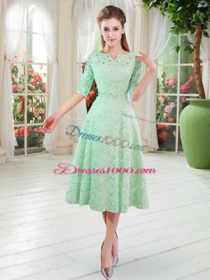 Glorious Apple Green A-line V-neck Half Sleeves Lace Tea Length Zipper Beading
