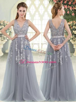 Excellent Grey V-neck Neckline Appliques Prom Gown Sleeveless Zipper
