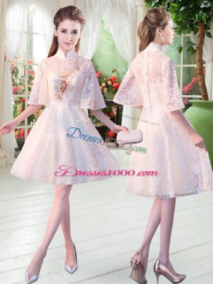 Flare High-neck Half Sleeves Party Dress Knee Length Appliques White Lace