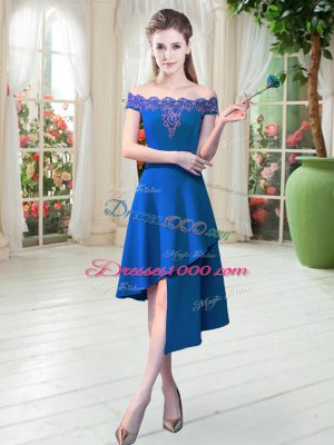 Cute Off The Shoulder Sleeveless Dress for Prom Asymmetrical Appliques Royal Blue Satin