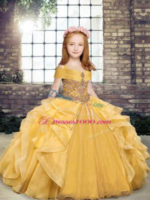 Sweet Gold Organza Lace Up Evening Gowns Sleeveless Floor Length Beading and Ruffles