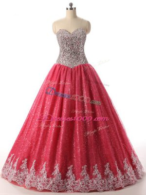 Free and Easy Floor Length Lace Up Sweet 16 Dress Coral Red for Military Ball and Sweet 16 and Quinceanera with Beading and Appliques