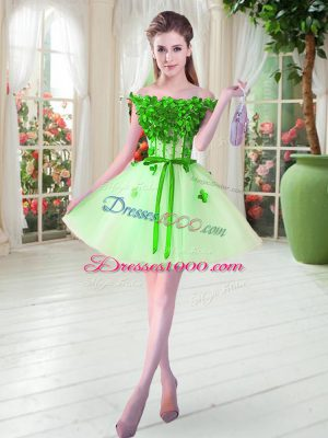 Pretty Apple Green Lace Up Prom Gown Beading and Appliques Sleeveless Mini Length